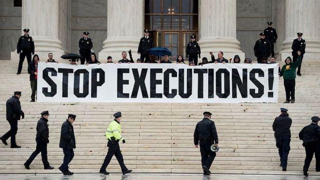 Manifestantes protestam contra a pena de morte nos EUA