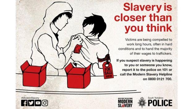 Afiche de la campaña contra la esclavitud moderna en Reino Unido