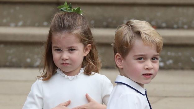"Princess Charlotte and Prince George arrive for the wedding of Princess Eugenie to Jack Brooksbank at St George""s Chapel in Windsor Castle"