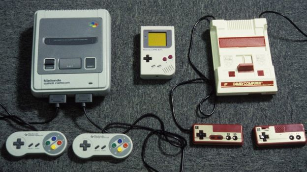 Nintendo Games In Japan in 1992. Super Famicon, Gameboy and Game machine.