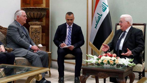 Госсекретарь США Рекс Тиллерсон, президент Ирака Фуад Массум