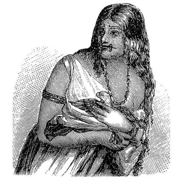 Ilustración de una india warao hecha aproximadamente en 1875.