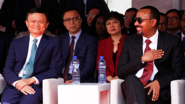 Ethiopian Prime Minister Abiy Ahmed (R) and the Chinese founder of e-commerce platform Alibaba, Jack Ma at the Electronic World Trade Platform in Addis Ababa, Ethiopia, 25 November 2019