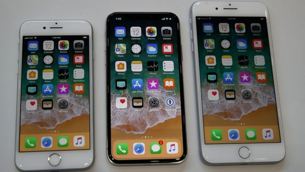 iPhone 8 (left), iPhone X (middle), iPhone 8 Plus (right)