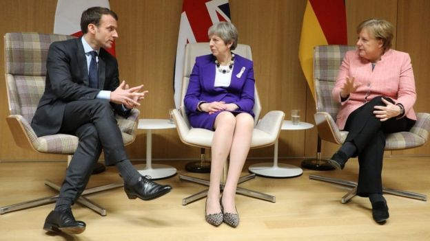 Emmanuel Macron, Theresa May y Angela Merkel