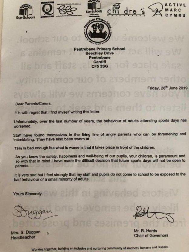 Pentrebane parents' sports day ban for 'bad behaviour' - BBC