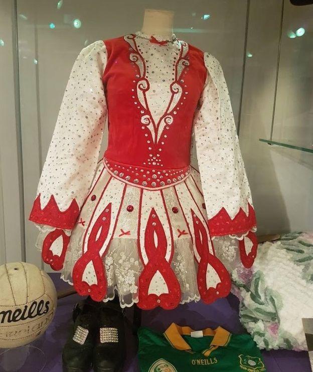 Irish dance costume featuring in the exhibition