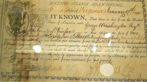 Documento histórico com o primeiro uso do cifrão em documento financeiro americano