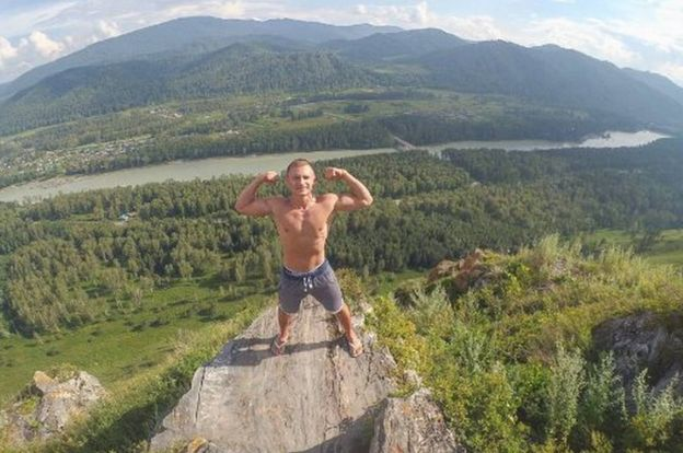 Konstantin Protsky posing in the Altai Mountains