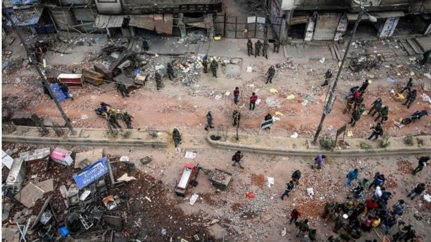 A general view of the riot-hit area following clashes between people supporting and opposing a cententious amendment to Indias citizenship law, in New Delhi on February 27, 2020