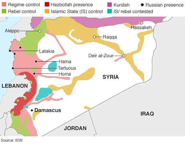 Map Of Syria Showing Control By Warring Parties 28 September 2015