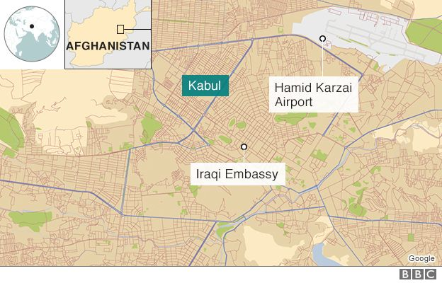 Map showing location of the Iraqi embassy in Kabul