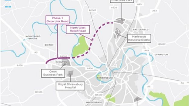 Royal Shrewsbury Hospital Map Shrewsbury bypass plan 'given £54m Government boost'   BBC News