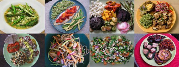 Diferentes pratos de comida