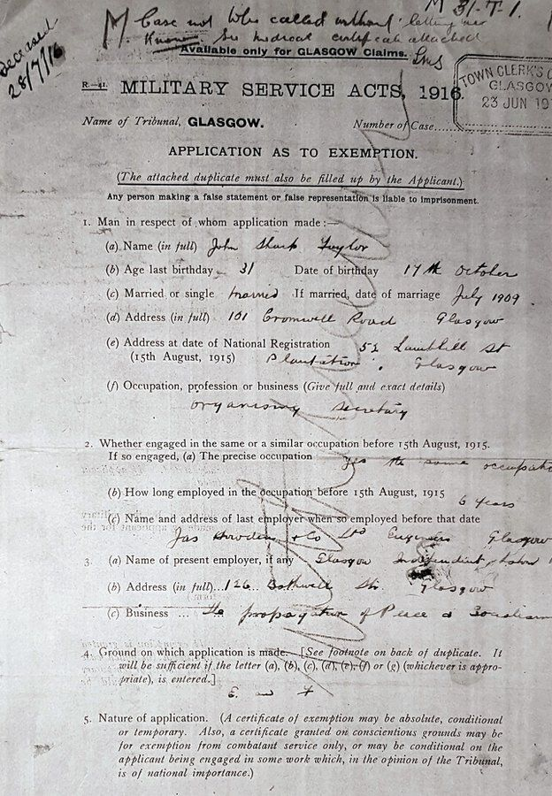 A military exemption application