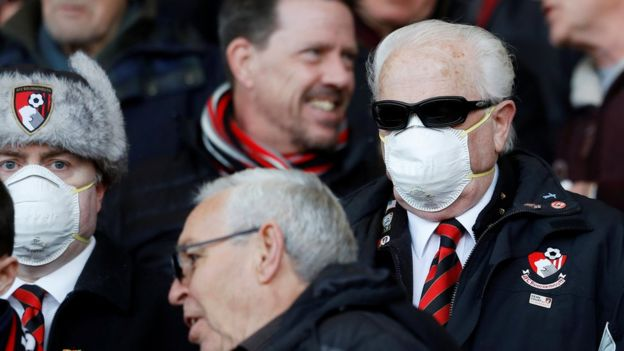 Bournemouth fans wearing face masks due to the recent coronavirus outbreak