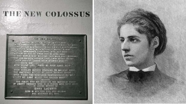 The New Colossus plaque and Emma Lazarus