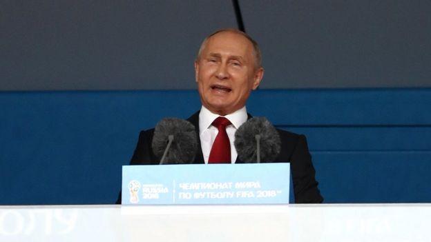 Putin en la inauguración del Mundial de Fútbol.