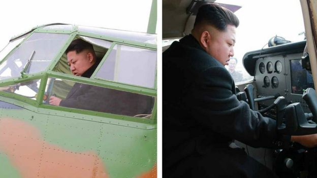 Kim Jong-un at the controls of an AN-2 biplane