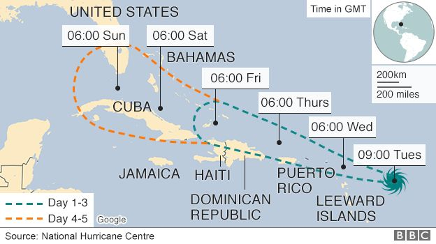 Map showing predicted path of Hurricane Irma