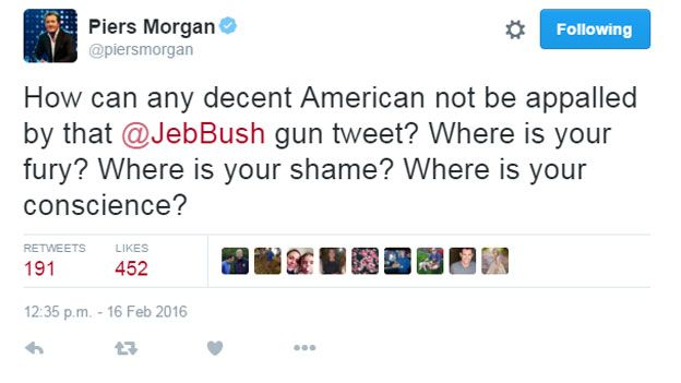 How can any decent American not be appalled by that @JebBush gun tweet? Where is your fury? Where is your shame? Where is your conscience?