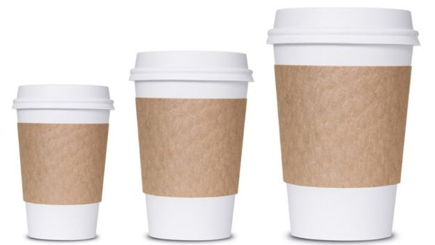 Small, medium and large coffee take-away cups