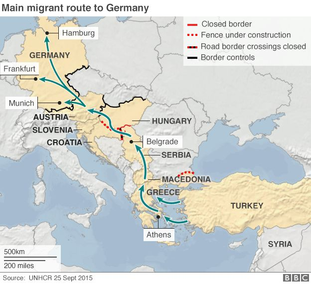 Europe gets 8000 refugees daily un bbc news map showing migrant route to germany gumiabroncs Choice Image