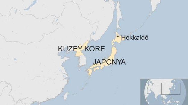 Kuzey kore ve Japonya haritası