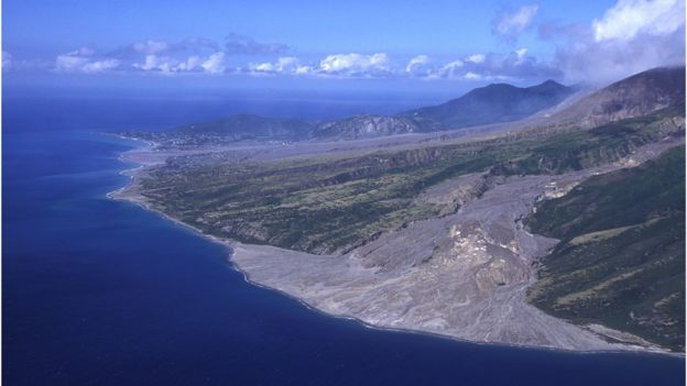 Aerial views of the slopes of the Soufriere Hills showing the destruction and complete loss of the capital of Monserrat, Plymouth and St Patrick's village