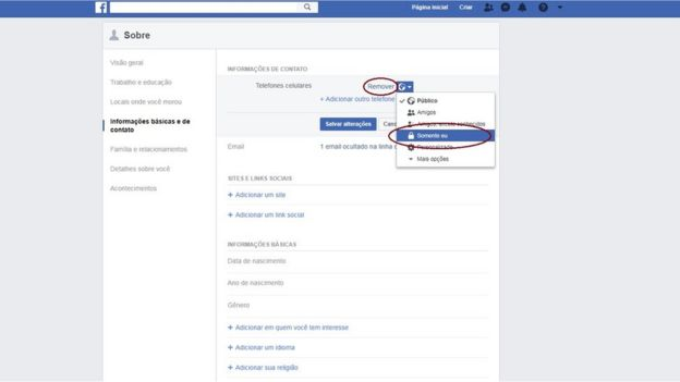 Captura de tela de configurações do Facebook