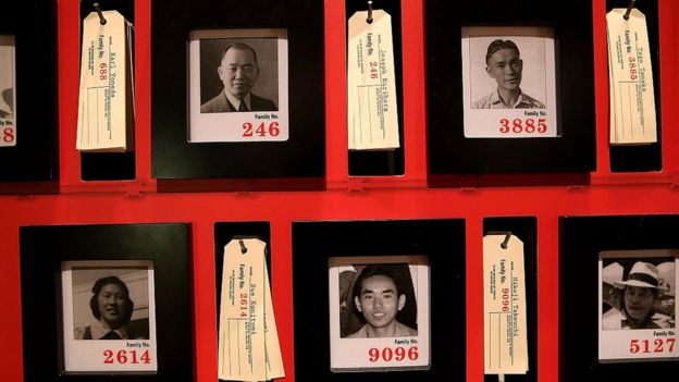 Japoneses confinados en campos de internamiento en EE.UU.