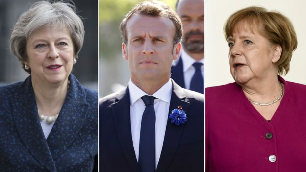 Theresa May, Emmanuel Macron y Angela Merkel