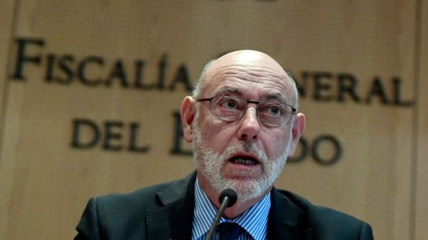 José Manuel Maza, Spain's chief prosecutor, called for Catalan leaders to be charged for sedition and rebellion over the region's declaration of independence, 30 October 2017