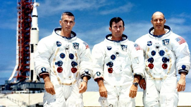 Crew of Apollo 10 (L-R) Eugene Cernan, John Young and Thomas Stafford, at the Kennedy Space Center, Florida, 13 May 1969
