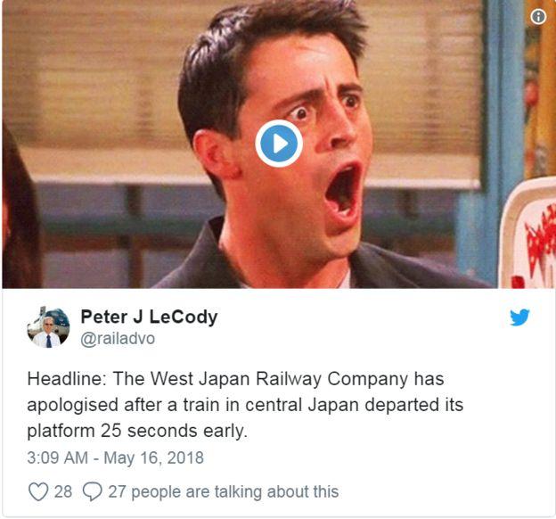 Tiêu đề: Công ty Đường sắt Tây Nhật đã xin lỗi sau khi một chuyến tàu ở miền trung Nhật Bản rời ga sớm 25 giây.