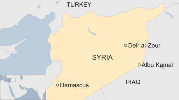 Ramani ya Syria ikionyesha eneo la Albu Kamal