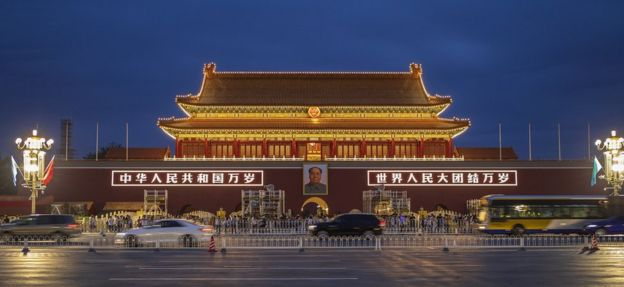 Mao's portrait hanging in Tiananmen Square