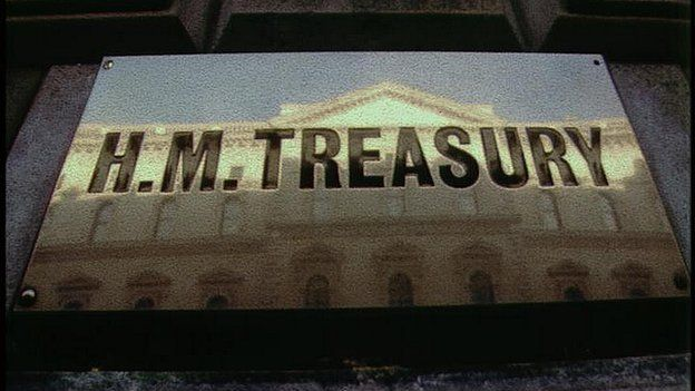 sign at entrance to HM Treasury