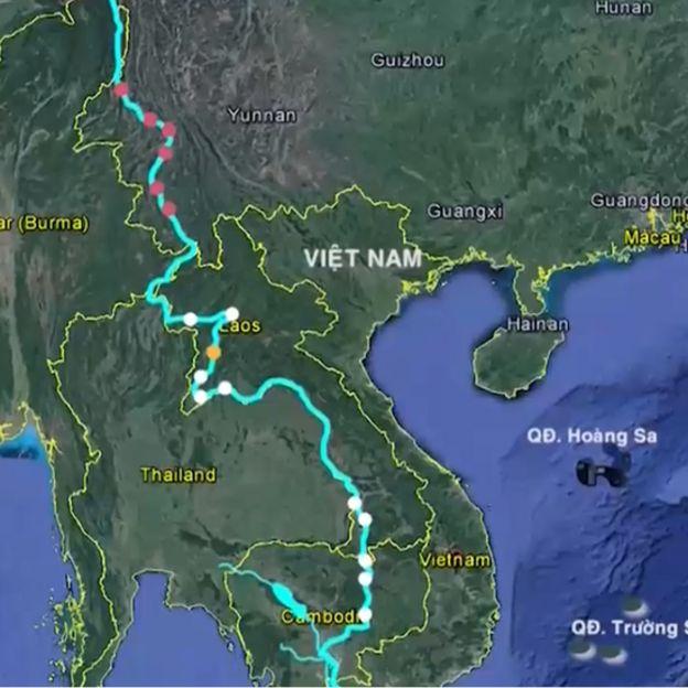 Bản đồ các đập thủy điện dọc sông Mekong