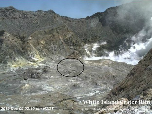 Stills from a live feed show the crater minutes before the eruption