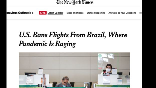Título de reportagem do NYT