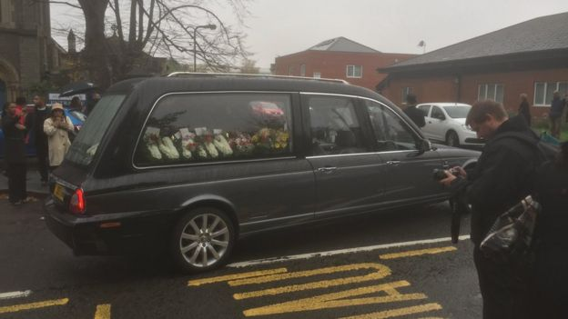 The funeral car on the way to the church