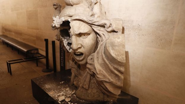 Vandalised statue of Marianne inside the Arc de Triomphe - 1 December