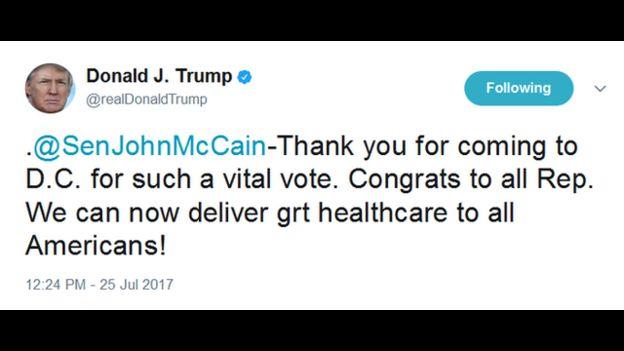 Mensaje de Donald Trump en Twitter.