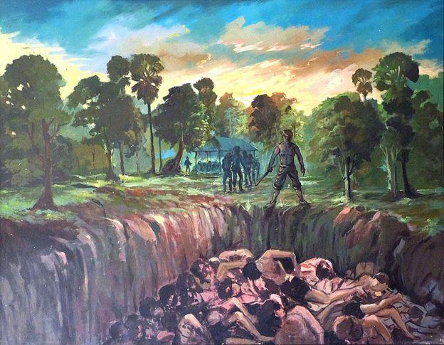 Dibujo de sobrevivientes con soldados al lado de una fosa común abierta.