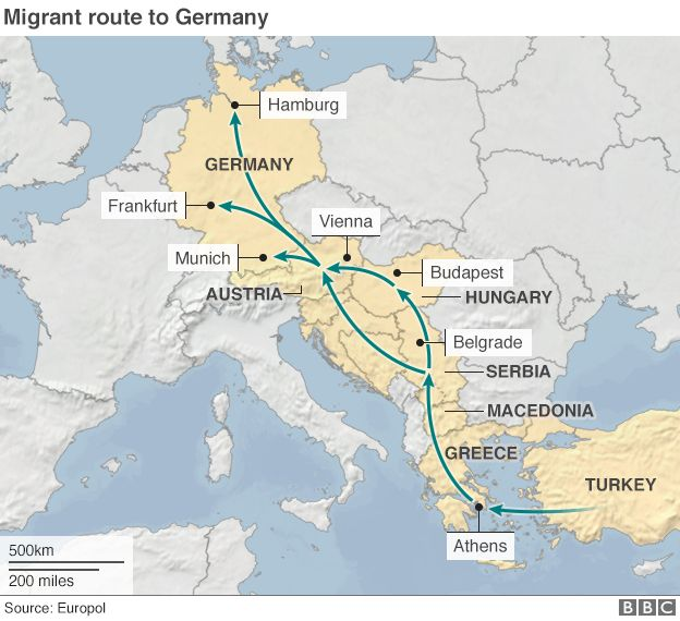 Migrant crisis hungary migrants start walk to border bbc news map gumiabroncs