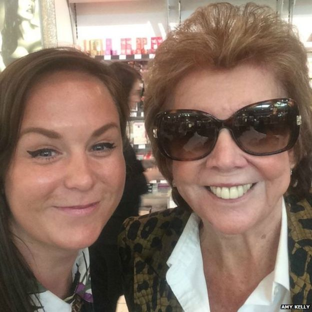 Amy Kelly took this picture of herself with Cilla Black on Friday 31 July at Gatwick Airport at around 3.30pm
