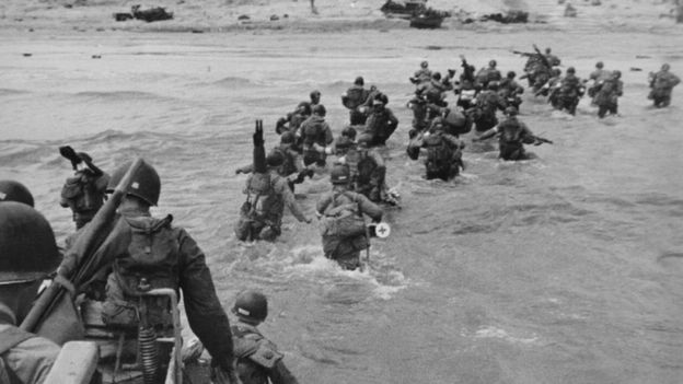 Troops of the US 7th Corps wading ashore on Utah Beach