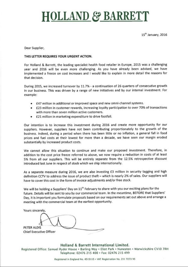 Holland barrett accused of squeezing suppliers bbc news full letter to suppliers from holland barrett thecheapjerseys Image collections