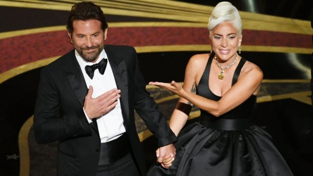 Bradley Copper and Lady Gaga onstage during the 91st Annual Academy Awards